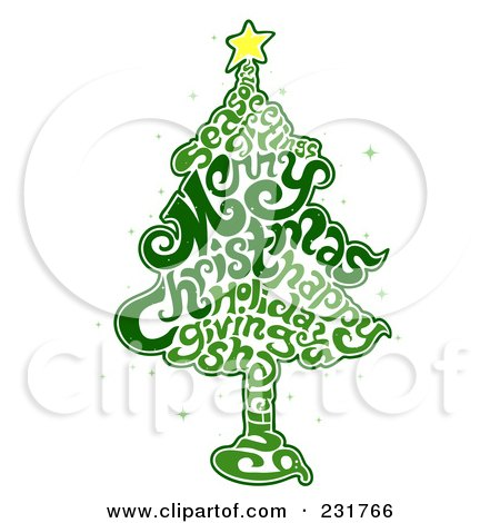 Royalty-Free (RF) Clipart Illustration of a Green Word Christmas Tree by BNP Design Studio
