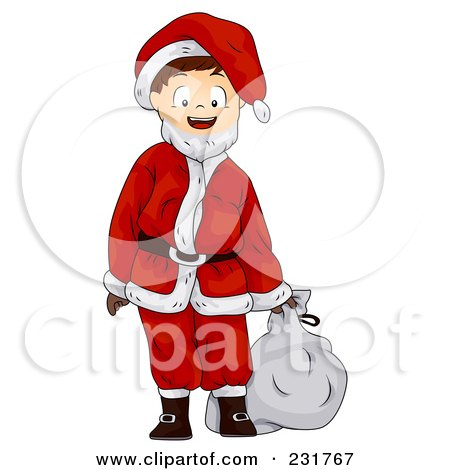 Royalty-Free (RF) Clipart Illustration of a Boy In A Santa Suit by BNP Design Studio