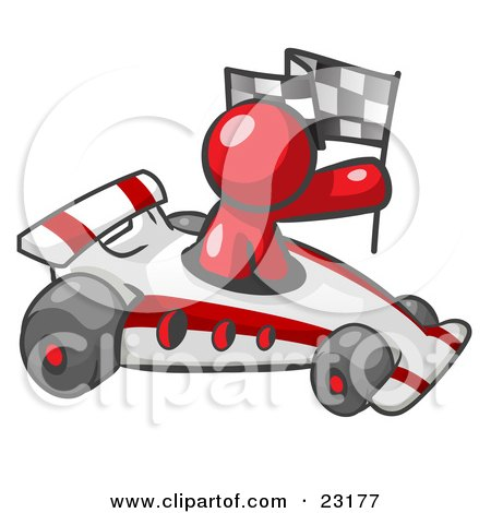Clipart Illustration of a Red Man Driving A Fast Race Car Past Flags While Racing by Leo Blanchette