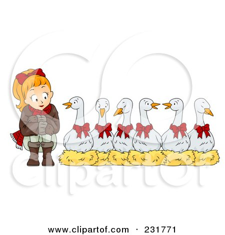 Royalty-Free (RF) Clip Art Illustration of a Christmas Woman With Six Geese A Laying by BNP Design Studio