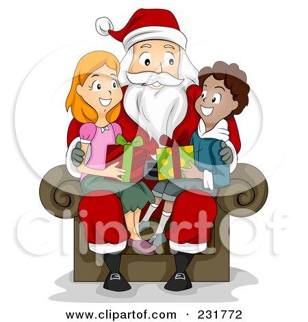 Christmas Boy And Girl Sitting On Santas Lap Posters, Art Prints