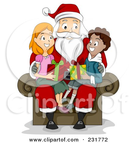 Royalty-Free (RF) Clipart Illustration of a Christmas Boy And Girl Sitting On Santas Lap by BNP Design Studio