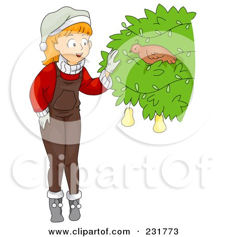 Royalty-Free (RF) Clipart Illustration of a Christmas Girl Discovering A Partridge In A Pear Tree by BNP Design Studio