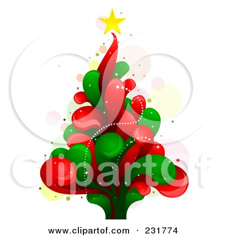 Royalty-Free (RF) Clipart Illustration of a Splash Christmas Tree by BNP Design Studio