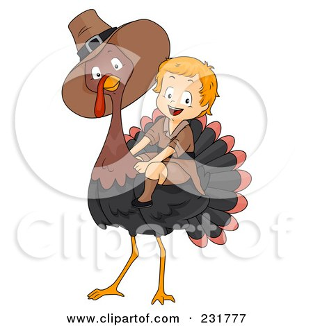 Thanksgiving Pilgrim Boy Riding A Big Turkey Posters, Art Prints