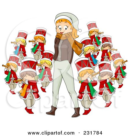Royalty-Free (RF) Clipart Illustration of a Christmas Woman With Eleven Pipers Piping by BNP Design Studio