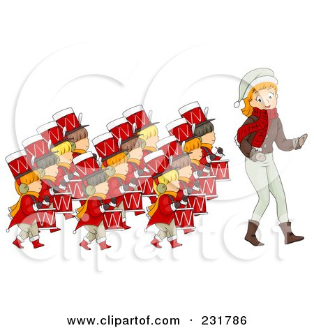Royalty-Free (RF) Clipart Illustration of a Christmas Woman With Twelve Drummers Drumming by BNP Design Studio