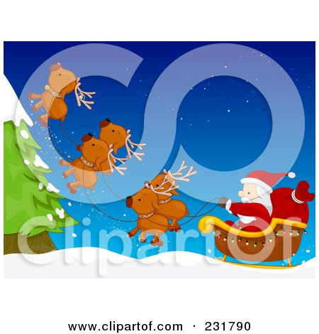 Royalty-Free (RF) Clipart Illustration of Santas Magic Reindeer Flying Upwards To Avoid A Tree by BNP Design Studio