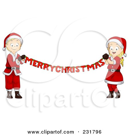 Royalty-Free (RF) Clipart Illustration of a Christmas Boy And Girl Holding A Merry Christmas Banner by BNP Design Studio