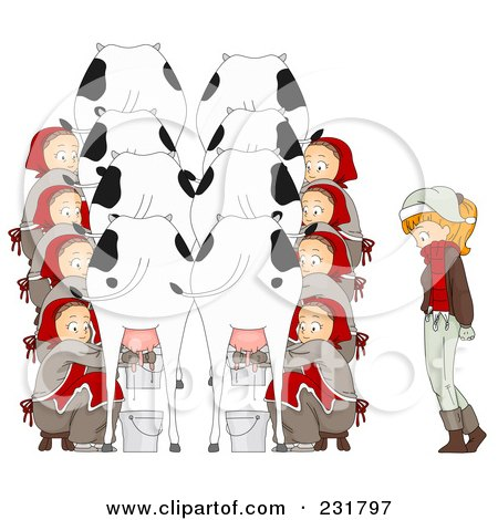 Royalty-Free (RF) Clipart Illustration of a Christmas Woman With Eight Maids Milking by BNP Design Studio