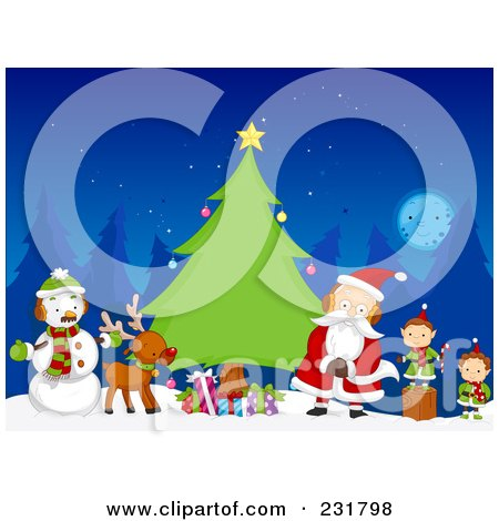 Royalty-Free (RF) Clipart Illustration of a Snowman, Reindeer, Santa And Elves By An Evergreen Tree At Night by BNP Design Studio