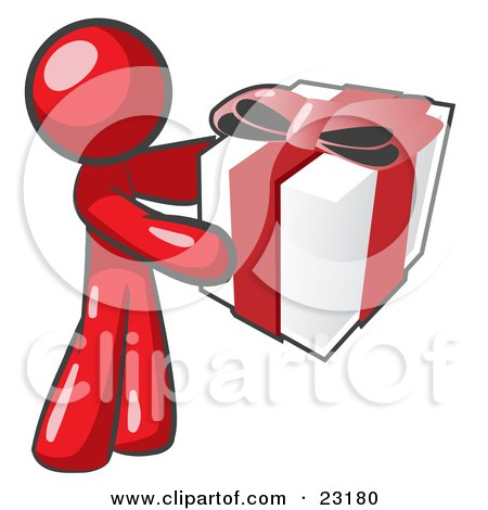 Clipart Illustration of a Thoughtful Red Man Holding A Christmas, Birthday, Valentine's Day Or Anniversary Gift Wrapped In White Paper With Red Ribbon And A Bow by Leo Blanchette