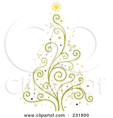 Royalty-Free (RF) Clipart Illustration of a Green Vine Christmas Tree by BNP Design Studio