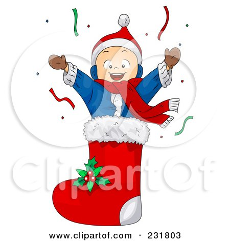Royalty-Free (RF) Clipart Illustration of a Christmas Boy In A Stocking by BNP Design Studio