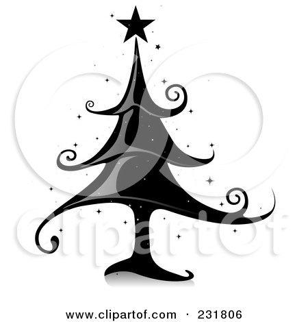 Royalty-Free (RF) Clipart Illustration of a Shiny Black Elegant Christmas Tree by BNP Design Studio