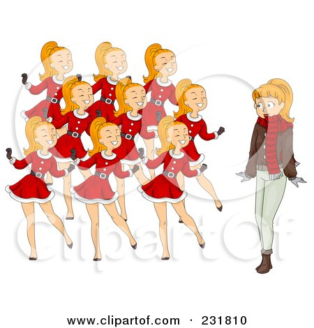 Royalty-Free (RF) Clipart Illustration of a Christmas Woman With Nine Dancing Ladies by BNP Design Studio