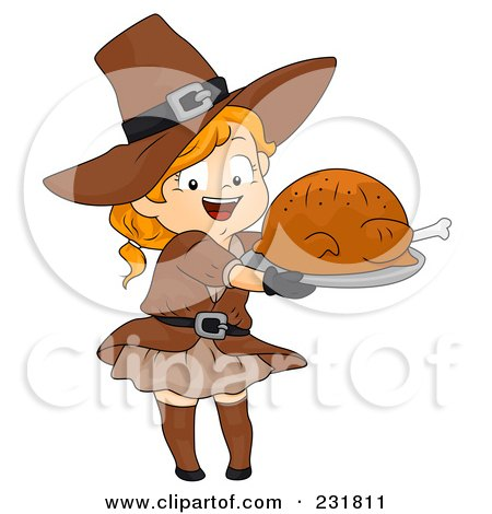 Royalty-Free (RF) Clipart Illustration of a Thanksgiving Pilgrim Girl Holding A Roasted Turkey by BNP Design Studio