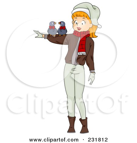 Royalty-Free (RF) Clipart Illustration of a Christmas Woman With Two Turtle Doves by BNP Design Studio