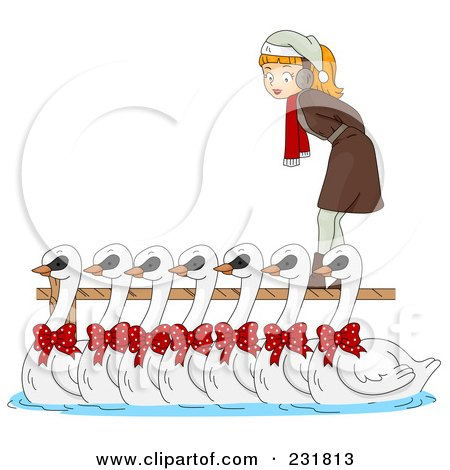 Royalty-Free (RF) Clipart Illustration of a Christmas Woman With Seven Swans A Swimming by BNP Design Studio
