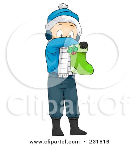 Royalty-Free (RF) Clipart Illustration of a Christmas Boy Reaching In A Stocking by BNP Design Studio