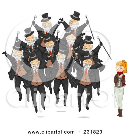 Royalty-Free (RF) Clipart Illustration of a Christmas Woman With Ten Lords A Leaping by BNP Design Studio