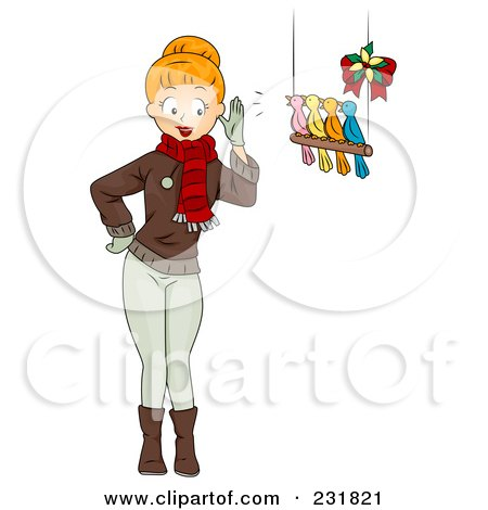 Royalty-Free (RF) Clipart Illustration of a Christmas Woman With Four Birds Calling by BNP Design Studio