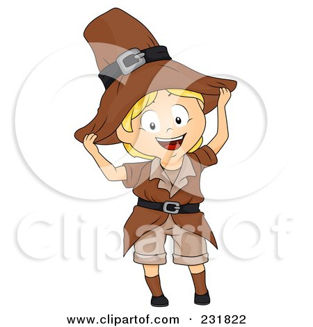 Royalty-Free (RF) Clipart Illustration of a Thanksgiving Boy In A Pilgrim Outfit by BNP Design Studio