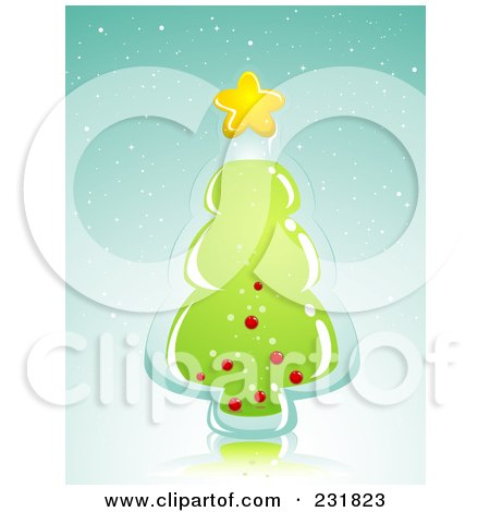 Royalty-Free (RF) Clipart Illustration of a Glass Christmas Tree Over Blue by BNP Design Studio