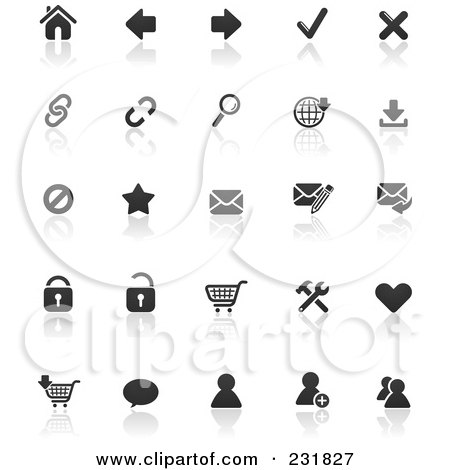 Royalty-Free (RF) Clipart Illustration of a Digital Collage Of Black And White Web Browser Icons With Reflections by TA Images
