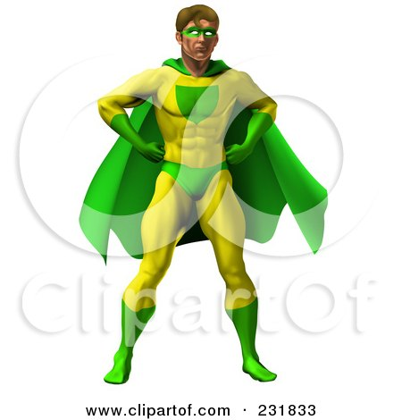 Royalty-Free (RF) Clipart Illustration of a Strong Male Super Hero Standing In A Green And Yellow Suit by AtStockIllustration