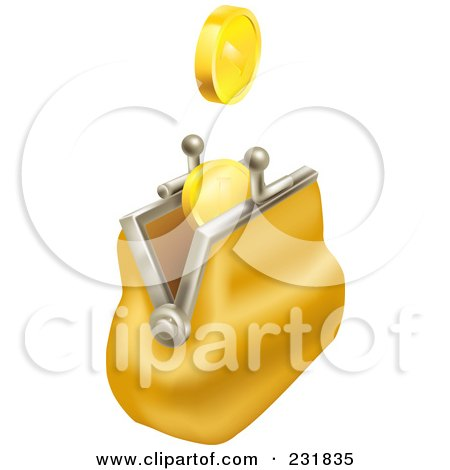 Royalty-Free (RF) Clipart Illustration of 3d Gold Coins Falling Into A Yellow Coin Purse by AtStockIllustration