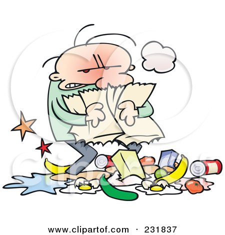Royalty-Free (RF) Clipart Illustration of a Mad Toon Guy Carrying A Torn Grocery Bag With Food At His Feet by gnurf