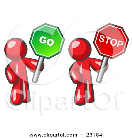 Clipart Illustration of Red Men Holding Red And Green Stop And Go Signs by Leo Blanchette