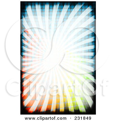 Royalty-Free (RF) Clipart Illustration of a Background Of Bright Rays Over A Colorful Grid With Black Grunge Borders by Arena Creative