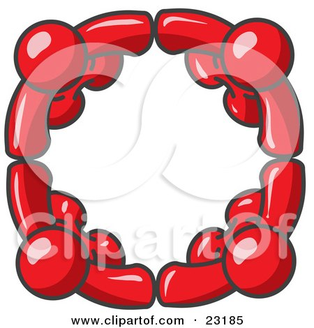 Clipart Illustration of Four Red People Standing in a Circle and Holding Hands For Teamwork and Unity by Leo Blanchette