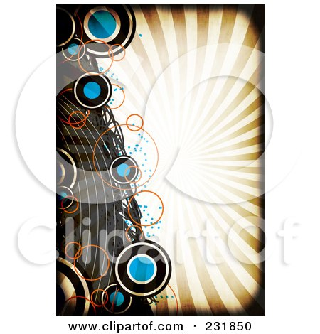 Royalty-Free (RF) Clipart Illustration of a Grungy Background Of Circles And Curves Over Rays With A Black Grunge Border by Arena Creative