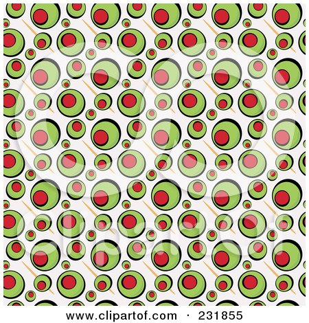 Royalty-Free (RF) Clipart Illustration of a Background Of Green Stuffed Olives On Beige by Arena Creative
