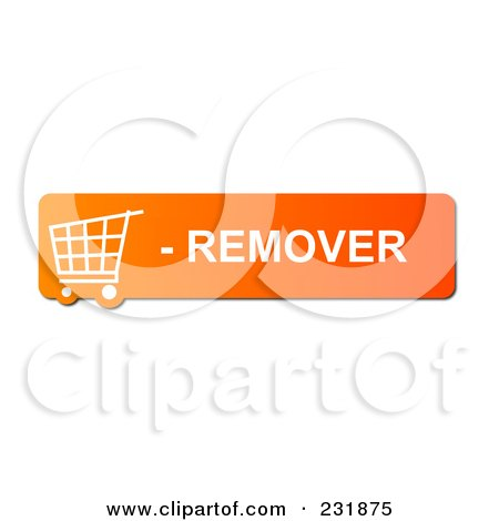 Royalty-Free (RF) Clipart Illustration of an Orange Remover Shopping Cart Button by oboy