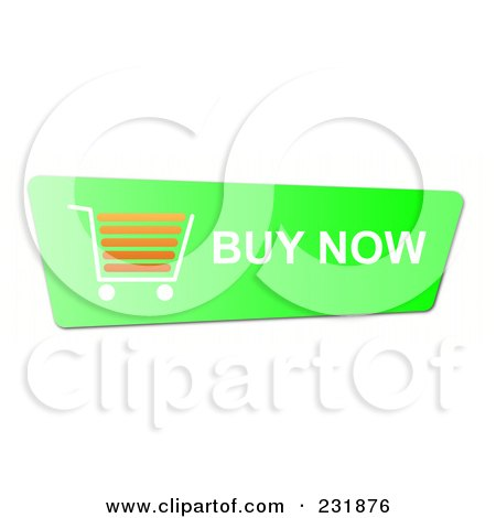 Royalty-Free (RF) Clipart Illustration of a Bright Green Buy Now Shopping Cart Button by oboy