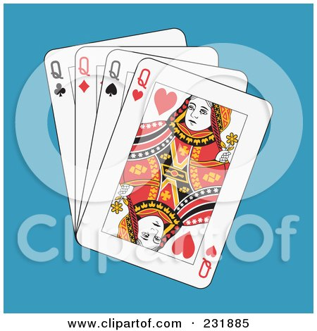 Royalty-Free (RF) Clipart Illustration of Four Queens on Blue by Frisko