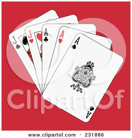 Royalty-Free (RF) Clipart Illustration of Full Aces And Jacks On Red by Frisko