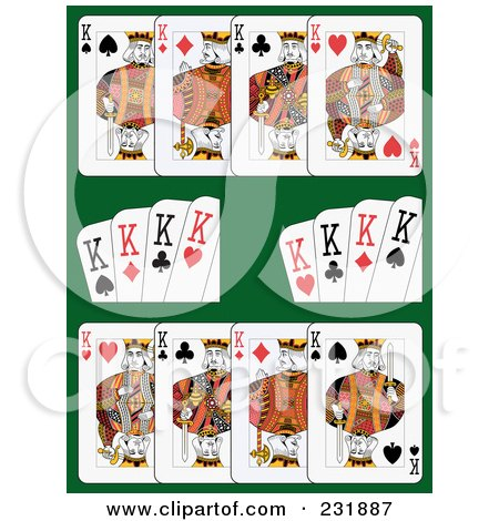 Royalty-Free (RF) Clipart Illustration of King Playing Cards On Green - 1 by Frisko