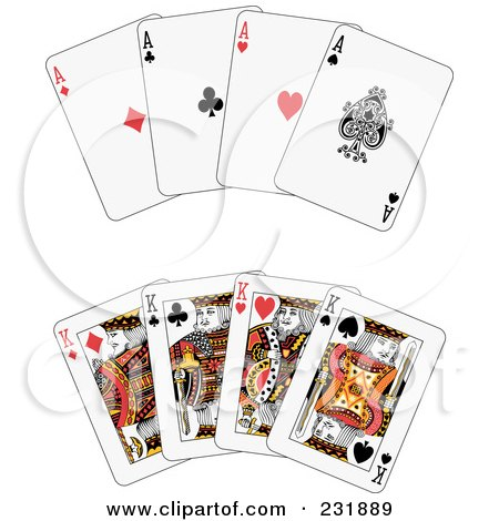 Royalty-Free (RF) Clipart Illustration of a Digital Collage Of Aces And Kings by Frisko