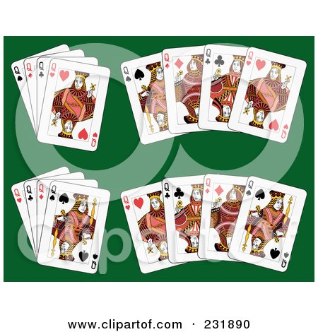 Royalty-Free (RF) Clip Art Illustration of Queen Playing Cards On Green - 2 by Frisko