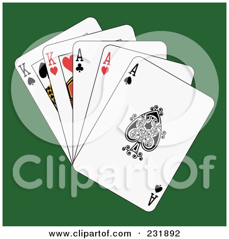 Royalty-Free (RF) Clipart Illustration of Full Aces And Kings On Green by Frisko