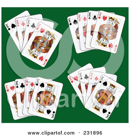 Royalty-Free (RF) Clipart Illustration of King Playing Cards On Green - 3 by Frisko
