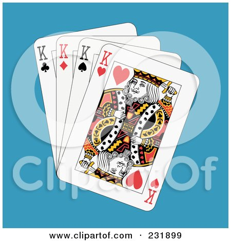 Royalty-Free (RF) Clipart Illustration of Four Kings on Blue by Frisko