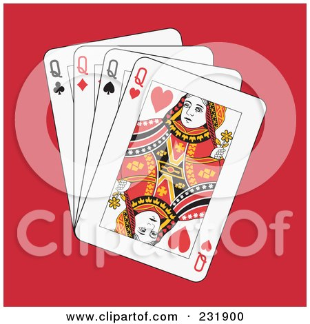 Royalty-Free (RF) Clipart Illustration of Four Queens On Red by Frisko