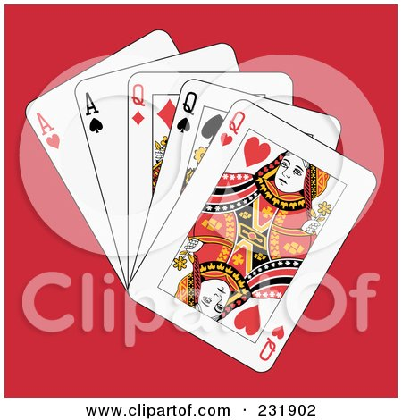 Royalty-Free (RF) Clipart Illustration of Full Queens And Aces On Red by Frisko