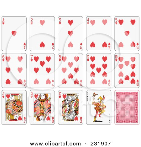 Royalty-Free (RF) Clipart Illustration of a House Of Heart Playing Cards by Frisko
